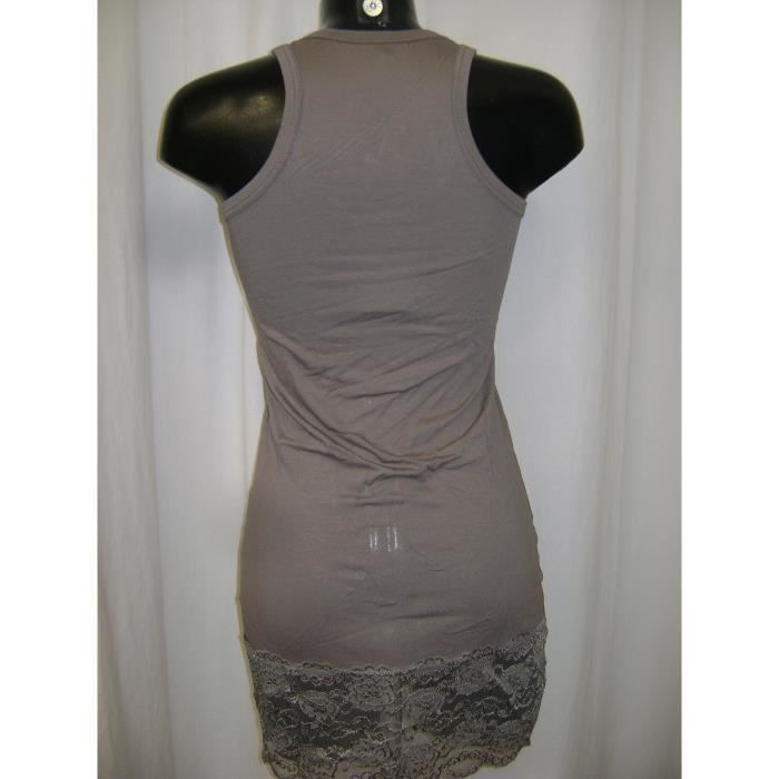 FONDS DE ROBE DONIS DENTELLE TAUPE TAILLE S = 36 A 40