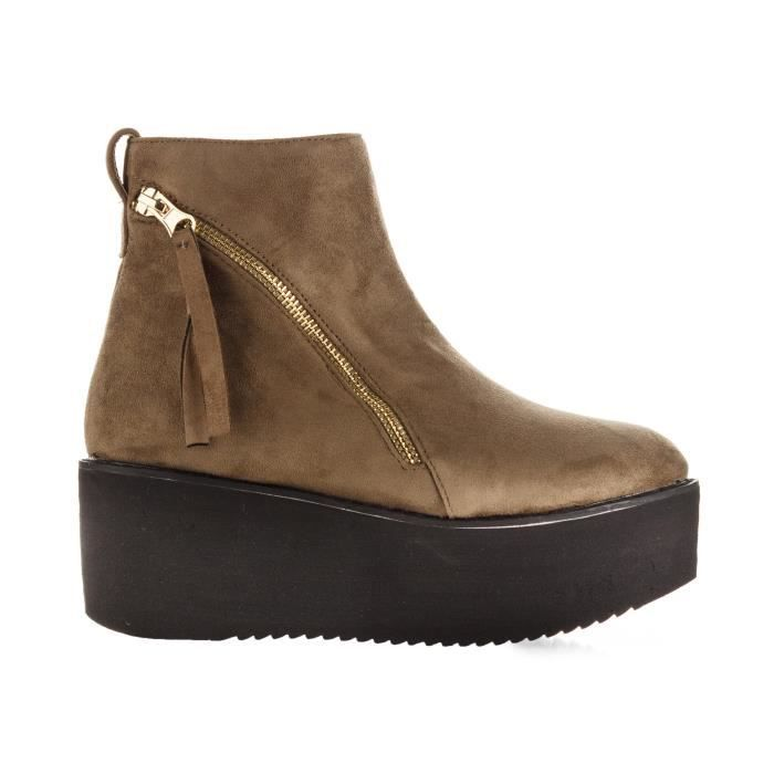 Vegan Suede Slip On Creeper Lug Platform Sole Ankle Boots UVBZN Taille-39 1-2