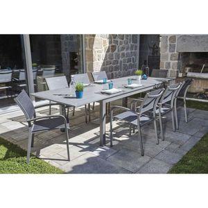 SALON DE JARDIN  Ensemble de jardin table extensible et 8 fauteuils