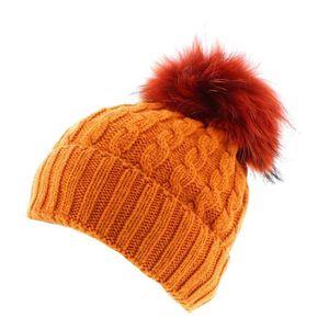 BONNET - CAGOULE Toronto - Orange - Bonnet pompon fourrure - votrec