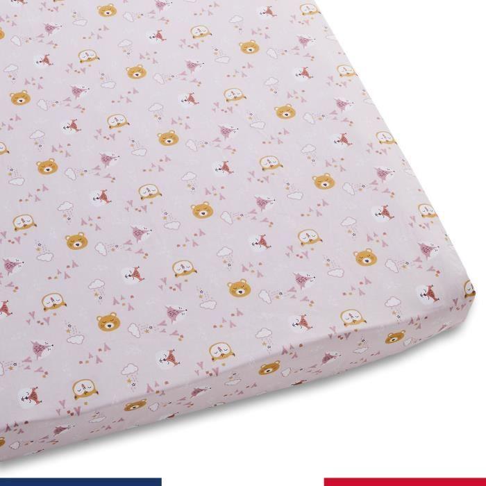 Drap housse pour bébé Amis de la forêt Rose (Ovale - 50x90)