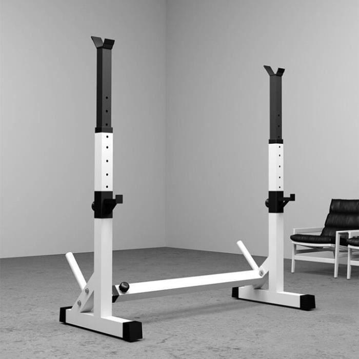 73-105 * 54 * 80-150cm Cage de Squat Support de Squat Multifonctionnel Monobloc Réglable NOIR BLANC Charge Max.200kg