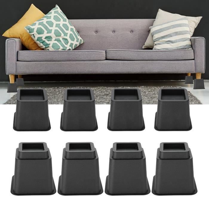 Pied de meubles Riser de fourniture Réhausseur de meuble Lit / Table / Bureau / Canapé/Chaise 4 x 5-& 4 x 3-