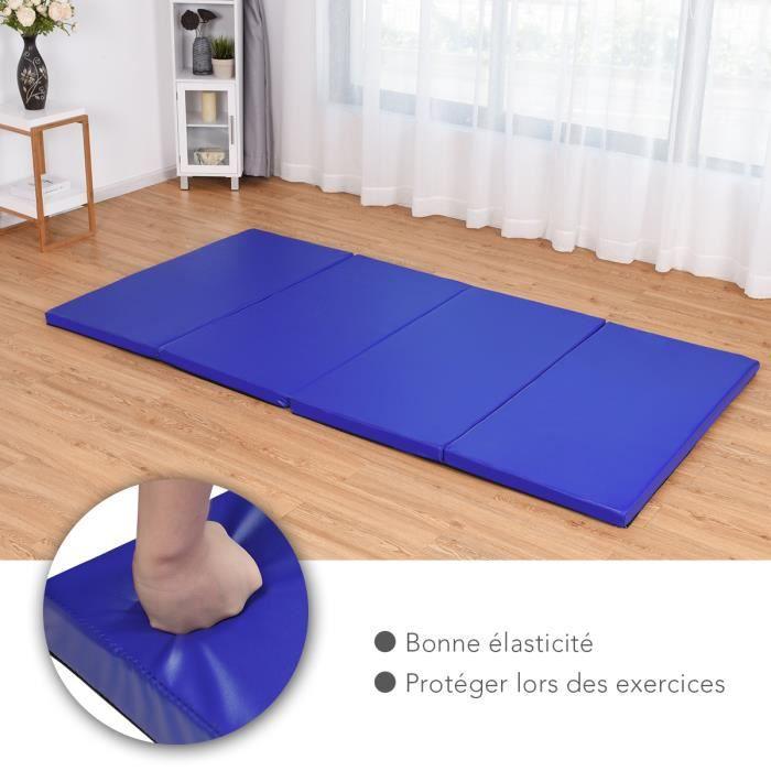 Tapis de Gymnastique Pliable et Portable 240 x 120 x 5 CM Matelas de Gym Pliant pour Fitness et Exercices Fait de EPE et de PU Bleu