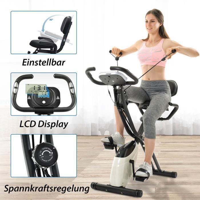 Vélo d'Appartement Pliable Elliptique Ergomètre Fitness Cardio Gym LCD pliable