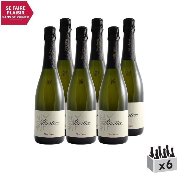 Prosecco Rustico Blanc - Lot de 6x75cl - Nino Franco - Vin effervescent DOC Blanc - Origine Italie - Cépage Glera