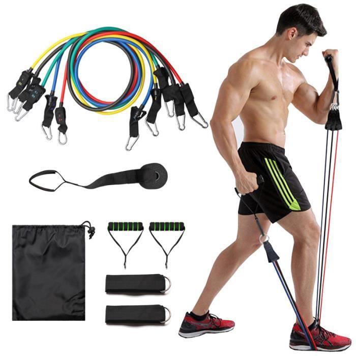 TPE Bandes de Resistance Elastiques Musculation Set, Latex Fitness Exercice Bands Kit 100 lb de traction