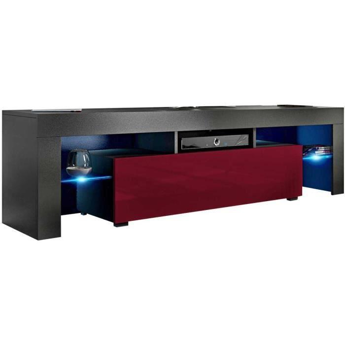 Meuble tv 160 cm noir mat / bordeaux brillant + led rgb