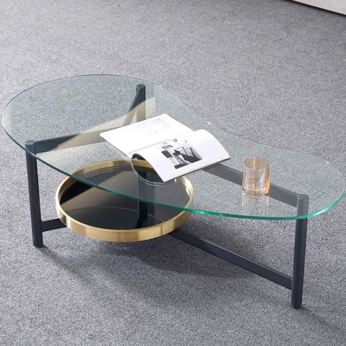 Table basse design arrondi SMOKE - Verre