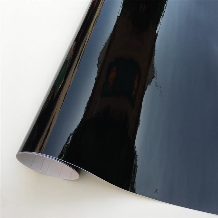 Film vinyle auto-adhésif noir Ultra brillant - Autocollant pour Piano, noir brillant, bulle de v - Modèle: 152X20 CM - ANQCCTB07396