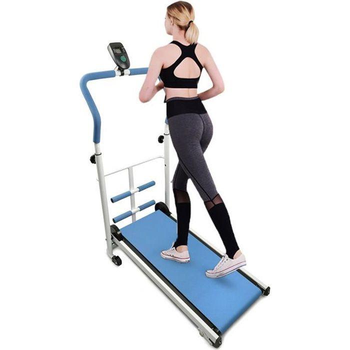 Bleu Tapis de course & tapis de marche & Tapis Roulant Mécanique avec des Sit-ups