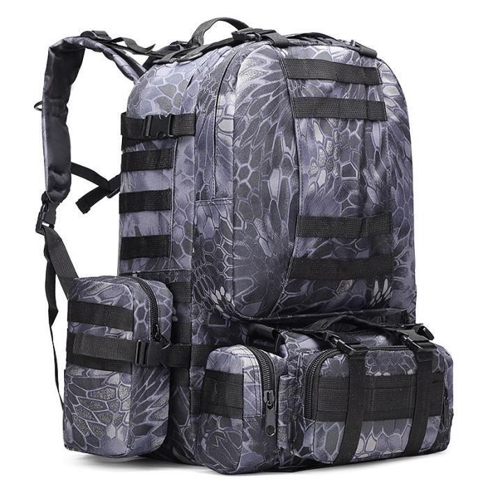81019 Snack Black 50 - 70L -Sac à dos tactique 4 en 1, sac millitaire étanche de 50l, sac à dos de randonnée et de Camping, sac d