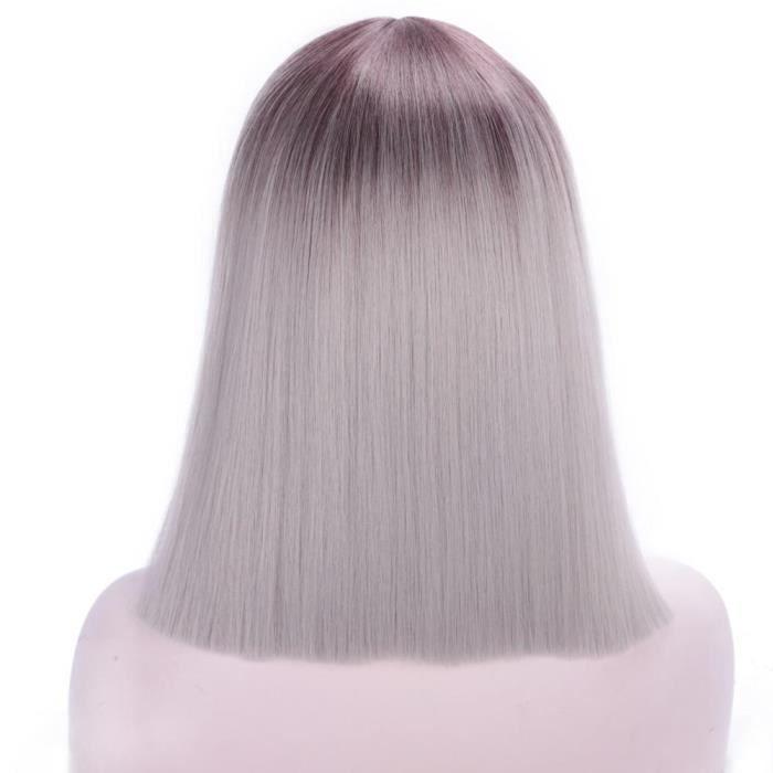 grey wig14pouces -Perruques Bob courtes et lisses pour femmes, perruques Cosplay roses-rouges, faux cheveux roses-rouges-violettes