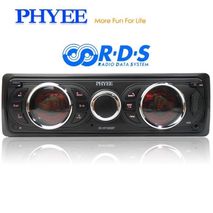 Autoradio amovible 1 Din RDS Bluetooth Audio Stéréo A2DP Mains Libres AM FM USB Unité de tête SD AUX ISO PHYEE SX MP3382BT