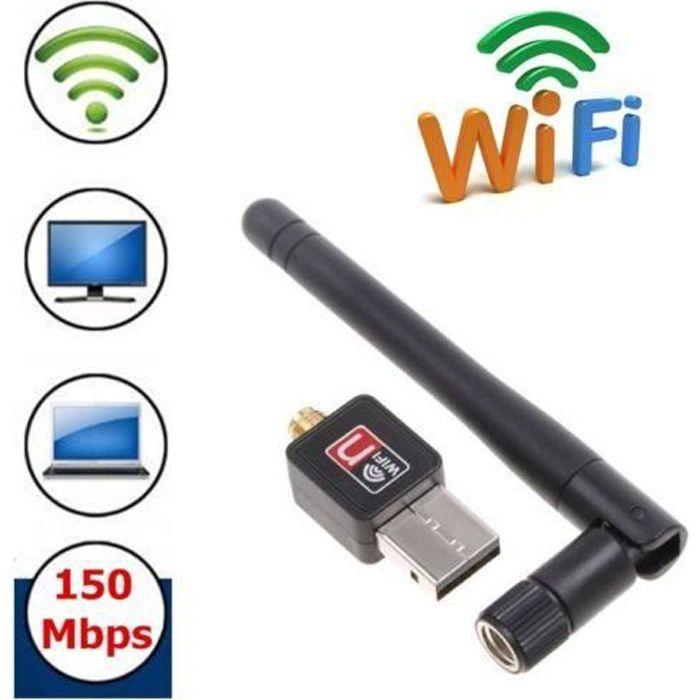 Mini Adaptateur USB Wifi avec antenne pour PC 150Mbps