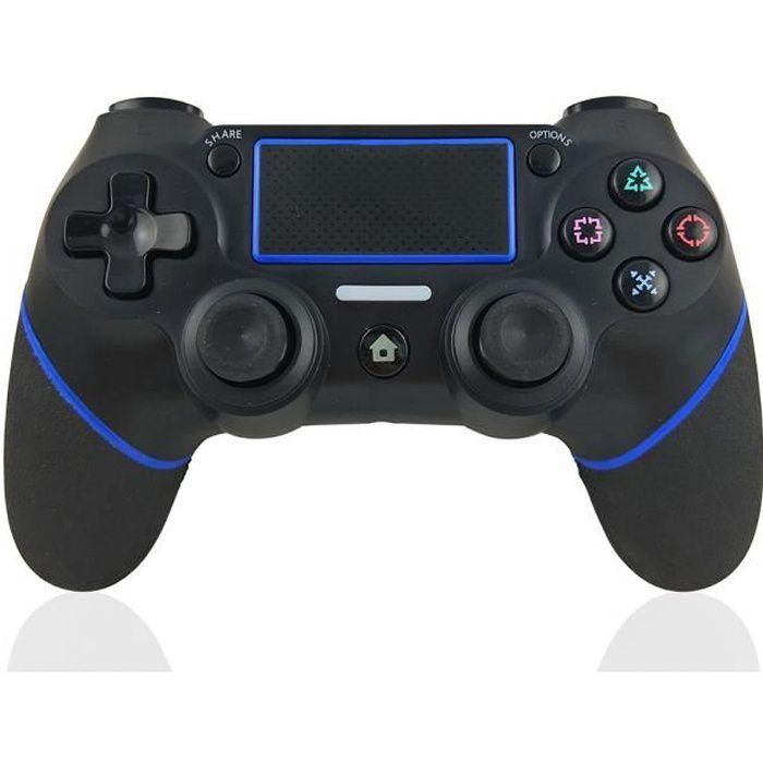 Manette pour PS4 DoubleShock Contrôleur de Jeu Bluetooth sans Fil Wireless pour Playstation 4/PS4 Slim/PS4 Pro/PS3 Noir bleu