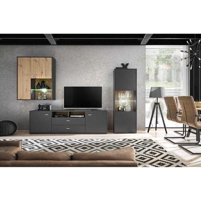 OLSSON - Unité murale style scandinave 3 pcs - Éclairage LED inclus - Mur TV - Ensembles meubles salon séjour - Aspect bois -