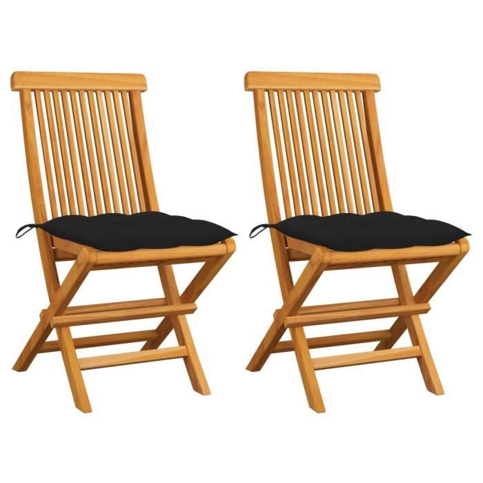 JG - Chaises de jardin- Fauteuil Relaxation pour Exterieur avec coussins noir 2 pcs Bois de teck massif7944