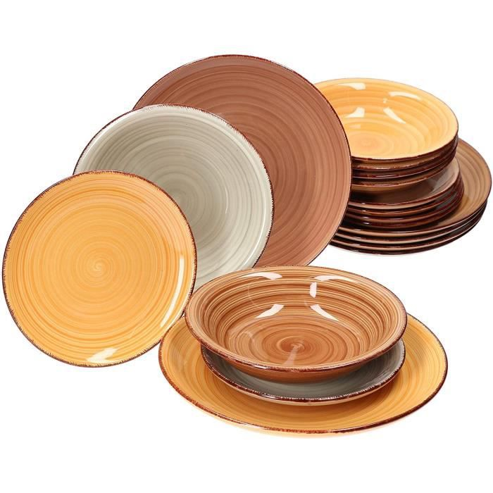 ASSIETTE MamboCat Lot de 18 assiettes Sandy pour 6 personnes I assiettes plates assiettes creuses et assiettes agrave gacircteau524