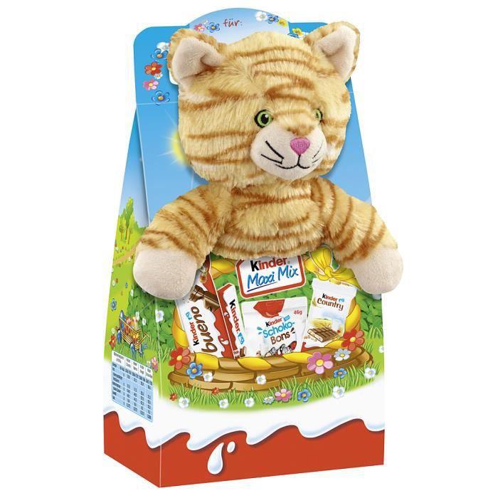 Ferrero Kinder Maxi Mix -Chat- animal en peluche Pâques 133g
