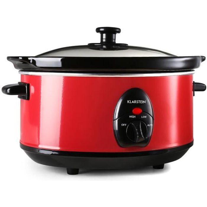 Klarstein Bristol 35 - Slow Cooker, mijoteuse electrique pour cuisson lente ( 3,5 litres , 200W, 2 températures réglables) - rouge