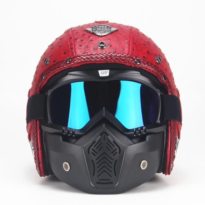 Casque Moto Adulte Casque de Marque Racing Armure complète Casque mat Pleine Couverture Casque Hors-Route Casque Harley Casque