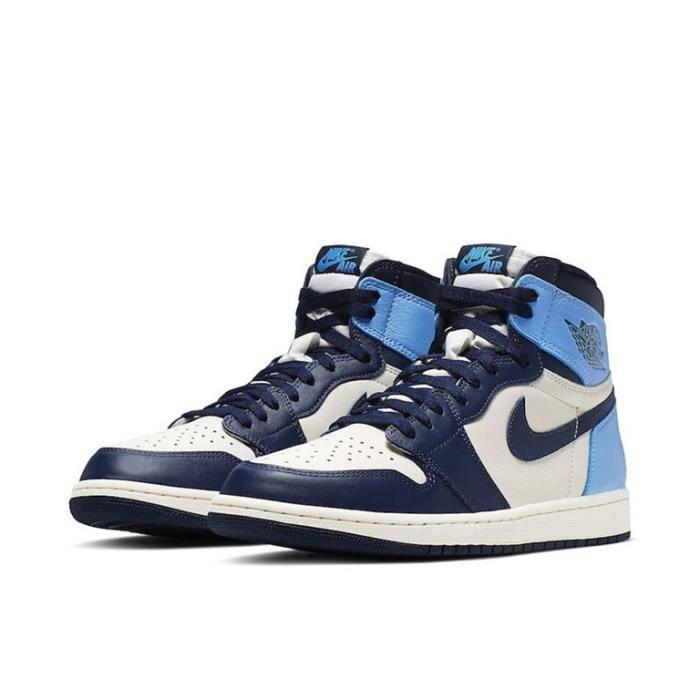 Basket Air Jordan 1 -Obsidian- Chaussure de Sport AJ 1 Pas Cher pour 555088-140 Homme Femme