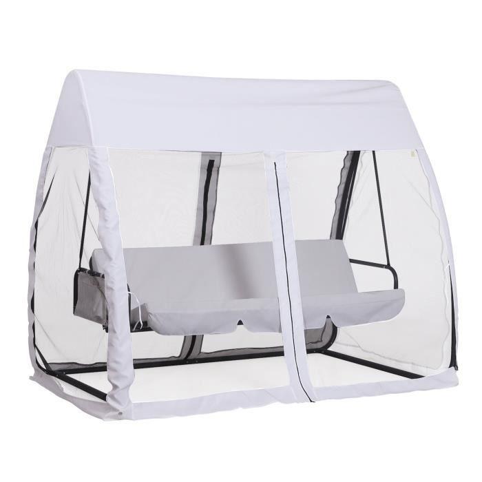 Balancelle de jardin convertible 3 places grand confort : matelas assise dossier, moustiquaire intégrale zippée avec toit, pochette