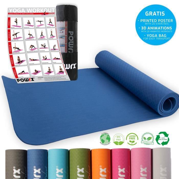 Tapis de yoga différentes couleurs, y compris la séance d'entraînement I tapis de gymnastique TPE 173 x 61 x 0,5 cm Couleur: Bleu