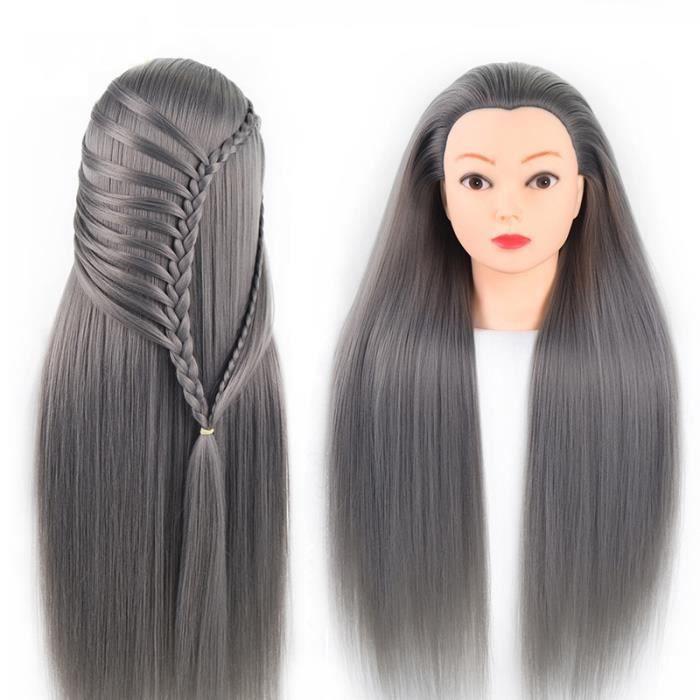 Tete a Coiffer, 66cm Tête de coiffure 100% de Cheveux Synthétiques Têtes d'exercice pour le Salon Coiffeur Poupée avec Support A13