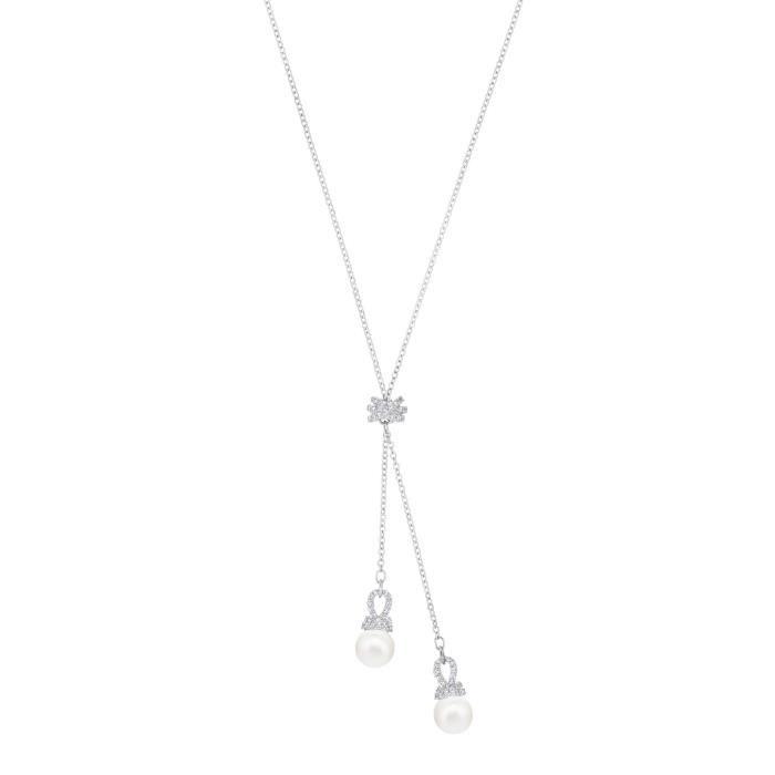 Swarovski Collier en Y Originally, blanc, métal rhodié