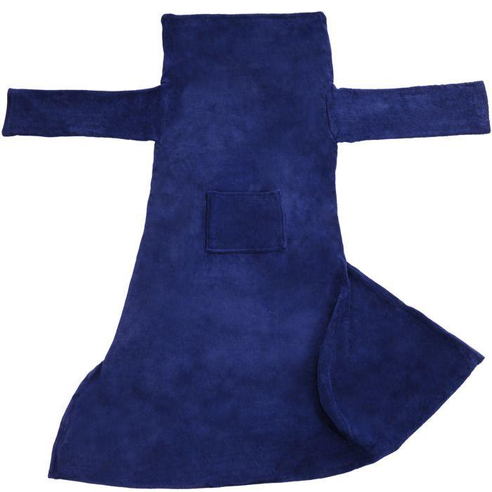 TECTAKE Plaid Canapé avec Manches Doux en Polyester 180 cm x 150 cm Bleu