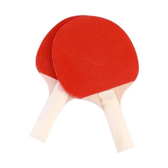2 pcs Enfants Pong Raquette Ensemble En Bois Tennis De Table Jouet pour Débutants Maternelle (Rouge, Noir)