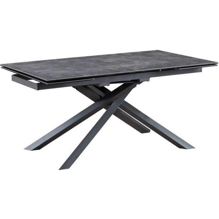 Table de repas à allonges Céramique/Métal gris - RAYONG - L 160/200/240 x l 90 x H 75