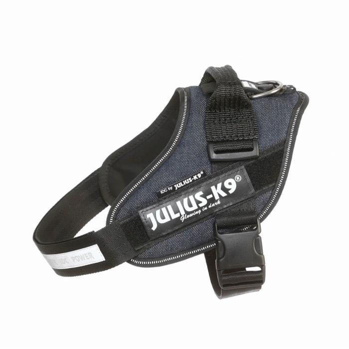 JULIUS K9 Harnais Power IDC 0–M–L : 58–76 cm - 40 mm - Bleu jean - Pour chien