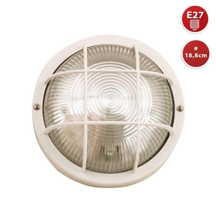 Plafonnier D'exterieur - BUBBLE: hublot rond en verre et plastique. E27 max 60W - Blanc