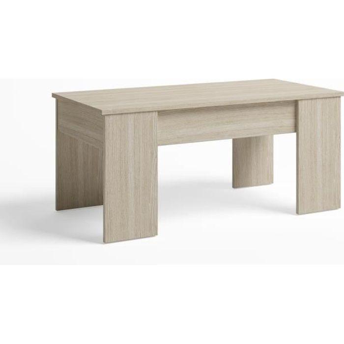 Table Basse relevable,Plus Grande épaissuer et stabilité, Couleur Chêne Clair, Porte-revues Inclus, 100 x 50 x 45 cm