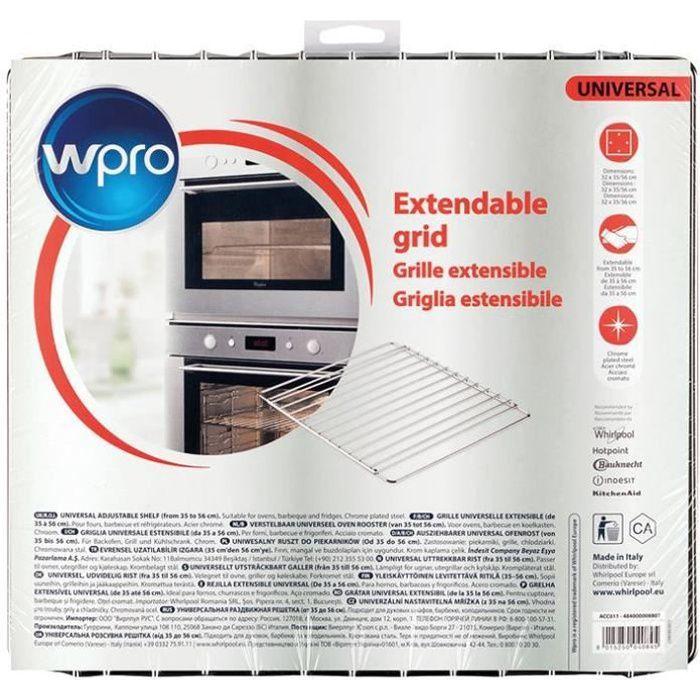 Wpro Grille extensible en inox chromé pour fours et réfrigérateurs - largeur ajustable de 35 à 56 cm