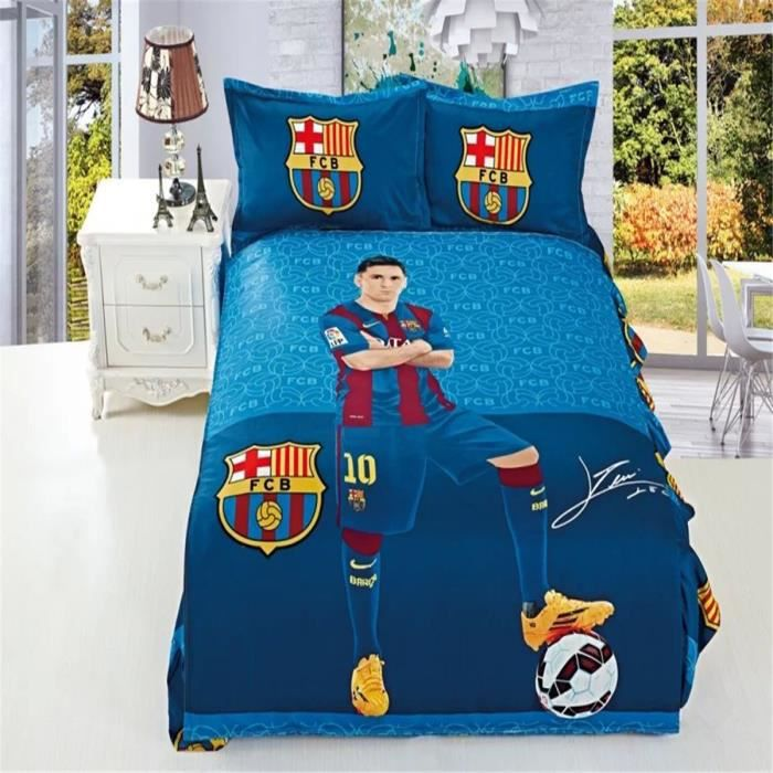 l m messi 100 coton enfant parure de couette parure de lit 1 housse de couette 140x 200 cm 1. Black Bedroom Furniture Sets. Home Design Ideas