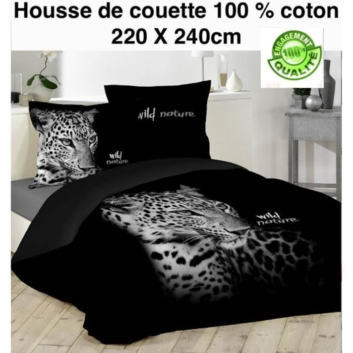 housse de couette noir panthere 220 x 240cm 100 coton achat vente housse de couette cdiscount. Black Bedroom Furniture Sets. Home Design Ideas