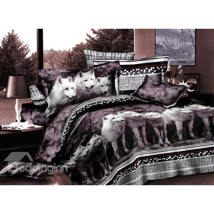 parure housse de couette polyester imprim e loups blancs. Black Bedroom Furniture Sets. Home Design Ideas