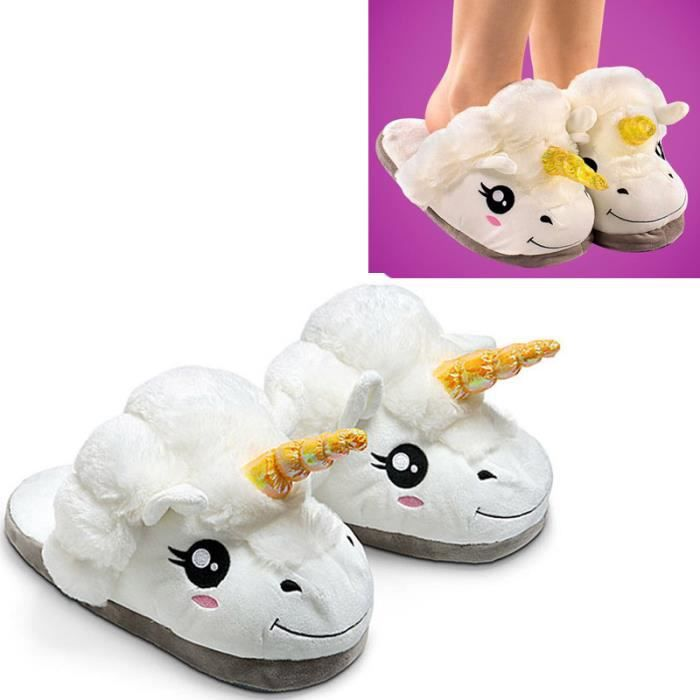 peluche licorne chaussons