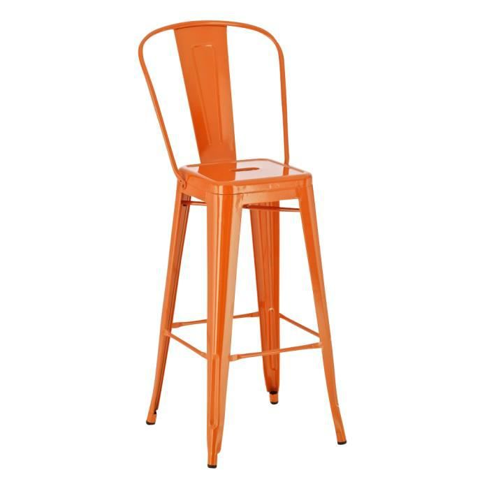 tabouret bar chaise m tal orange achat vente tabouret. Black Bedroom Furniture Sets. Home Design Ideas