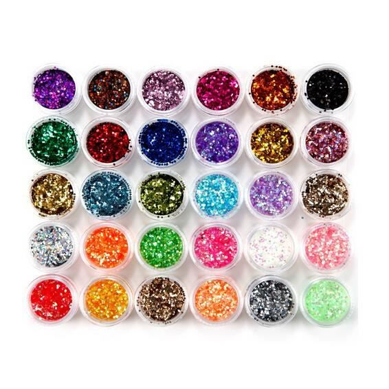 30 pots poussiere glitter deco ongles gel paillette manucure maguillage achat vente stickers. Black Bedroom Furniture Sets. Home Design Ideas