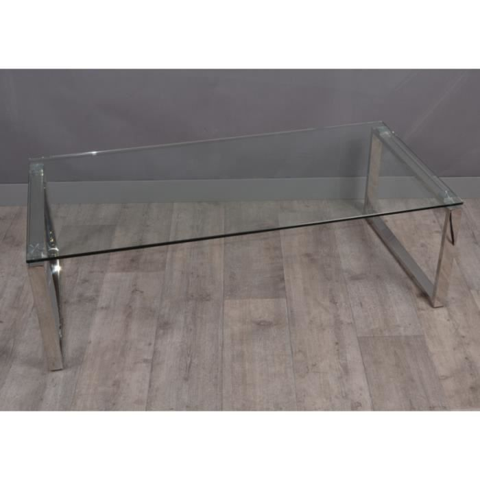 Table Basse Design Verre Chrome 120x60 Cm Achat Vente
