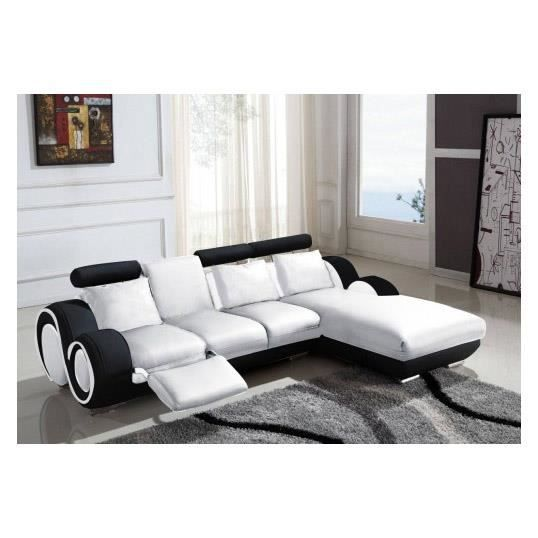 canap d 39 angle cuir relax blanc et noir vilnus achat vente canap sofa divan cuir bois. Black Bedroom Furniture Sets. Home Design Ideas
