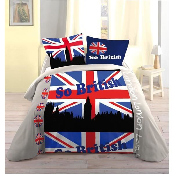 parure de lit city 3 british 100 coton drapeau achat vente parure de lit cdiscount. Black Bedroom Furniture Sets. Home Design Ideas
