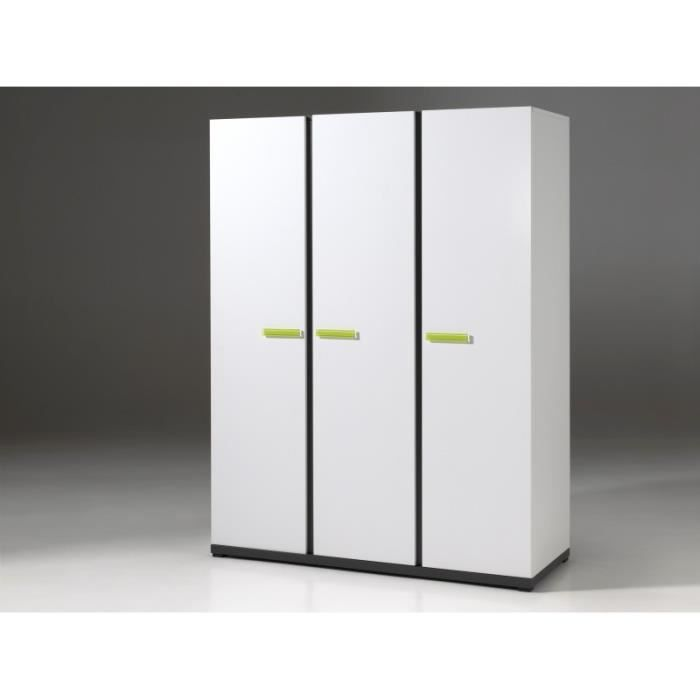armoire enfant 3 portes blanche et grise hugo blanc. Black Bedroom Furniture Sets. Home Design Ideas