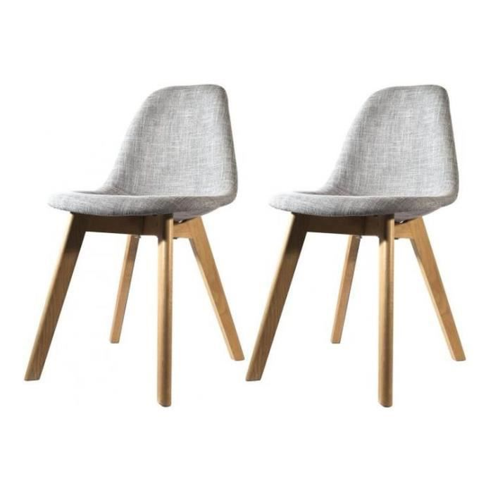 lot de 2 chaises scandinave en tissu grise fjord achat vente chaise gris les soldes sur. Black Bedroom Furniture Sets. Home Design Ideas