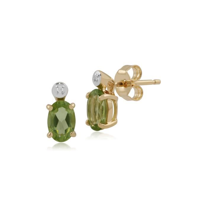 gemondo P�ridot Boucles doreilles, 9 Ct Or Jaune 1.03ct ct P�ridot & Diamant Ovale clous